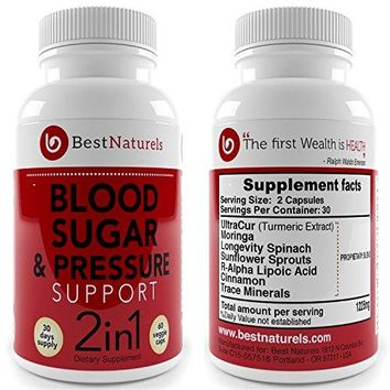 1 Bottle: 2-in-1 Blood Pressure + Blood Sugar Support Supplement | Promotes Healthy Blood Pressure |Glucose +...