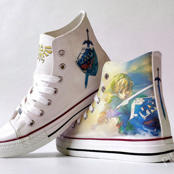 The Legend of Zelda inspired custom shoe decoration