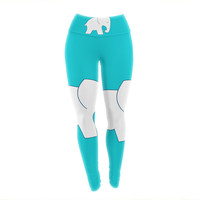 "NL Designs ""Cute Blue White Elephant"" Animals Blue Yoga Leggings"