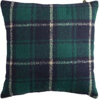 Woven Plaid Pillow - Blue & Green