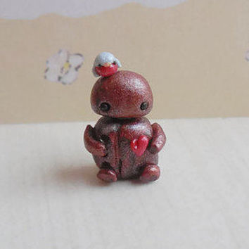 Micro polymer clay robot sculpture, tiny clay robot with bird friend, mini robot sculpture, miniature robot figurine, robot collectible.