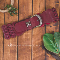 Weaved Thick Stretch Buckle Belt (Maroon)