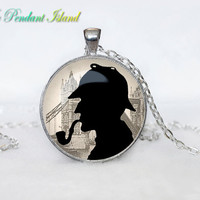 SHERLOCK HOLMES sherlocked Pendant  Sherlock Holmes Necklace Fantasy Black White for him  Art Gifts for Her i am sherlocked
