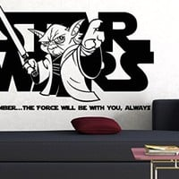 Wall Decals Quote Remember The Force will Be Star Wars Yoda Decal Vinyl Sticker Home Decor Interior Design Nursery Baby Room Living-room Art Murals Ms720