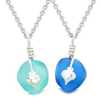 Twisted Twincies Heart Small Sea Glass Lucky Charm Love Couples BFF Set Aqua and Ocean Blue Necklaces