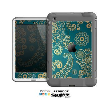 The Green & Gold Lace Pattern Skin for the Apple iPad Mini LifeProof Case