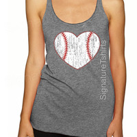 Baseball Tank top. Baseball top. Baseball womens Tank. Vintage baseball heart graphic sport game tank top
