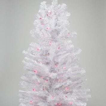 2' Pre-lit White Iridescent Pine Artificial Christmas Tree - Pink Lights