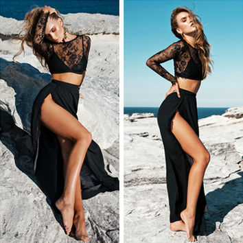 Fashion  Perspective Lace Long Sleeve Crop Tops Split Long Skirt Set Two-Piece