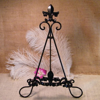 Black Fleur De Lis Cookbook Stand Holder -Handpainted - Easel Display Stand - Metal - Home Decor Kitchen Accent - Chef Gift