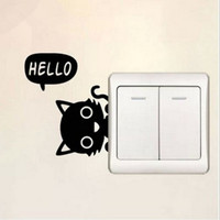 Home Bedroom Vinyl Decal Cat Switch Sticker Wall Decoration