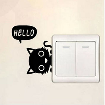 Home Bedroom Vinyl Decal Cat Switch Sticker Wall Decoration = 1929532740