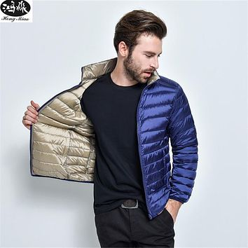 Men Down Coats 2017 Winter Long Sleeve Stand Collar Men Lightweight Down Coat Male Casual Solid Color Double Side Coats Outwear