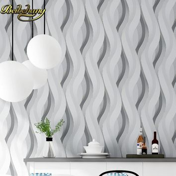 beibehang 3d papel de parede woven metallic glitter off white silver wide stripe modern wallpaper background wall coverings