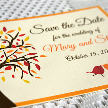 Fall Love Birds Save the Date Card - Fall Wedding, Fall Tree, Save the Date Cards, Save the Dates - DEPOSIT