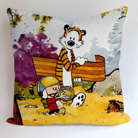 Calvin and Hobbes Around World Pillow, Pillow Case, Pillow Cover, 16 x 16 Inch One Side, 16 x 16 Inch Two Side, 18 x 18 Inch One Side, 18 x 18 Inch Two Side, 20 x 20 Inch One Side, 20 x 20 Inch Two Side
