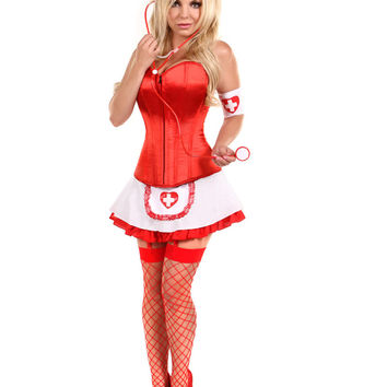 MOONIGHT Naughty Sexy Nurse Halloween Costume Disfraces Red / White Adult Women Cosplay Costumes Carnival Corset Dress Uniform