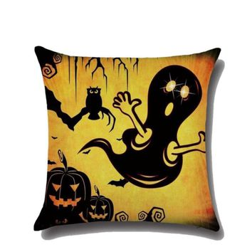 Yellow Halloween Scary Huge Ant Print Cotton Linen Cover Plush Pillowcase