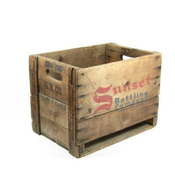 Vintage Wooden Crate Wood Box Sunset Bottling by BridgewoodPlace