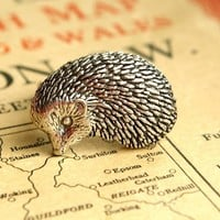 Hedgehog Ring Antiqued Pewter Silver Plated Ring by makeit on Etsy