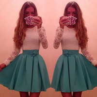 Long Sleeve Lace Fit and Flare Dress