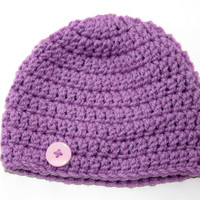 Purple Baby girl hat newborn photo prop 0 - 3 months