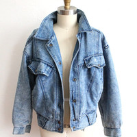 ON SALE Vintage 80s Blue Denim Acid Wash Bomber Jacket // Women's Flannel Lined Coat