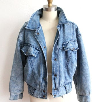 Vintage grey denim jacket, acid wash jean jacket, 90s denim jacket, 80s denim jacket