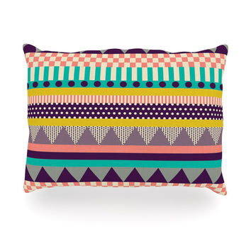 "Louise Machado ""Decorative Stripes"" Teal Pink Oblong Pillow"