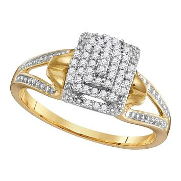 10kt Yellow Gold Women's Round Diamond Cluster Split-shank Ring 1/6 Cttw - FREE Shipping (US/CAN)
