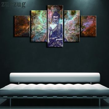 5 Pieces Mystic Buddha Oil on Canvas Wall Art -  2 Size Options