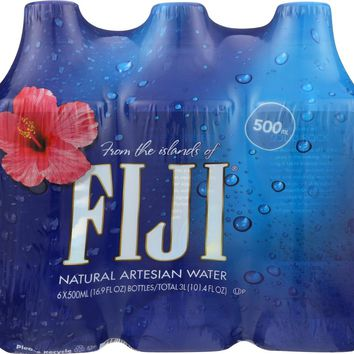 FIJI: Natural Artesian Water 6x16.9 Oz Bottles, 101.4 oz
