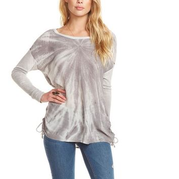 Women's Chaser Brand Silk Lace Up Dolman Top