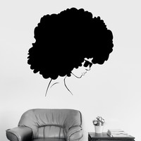 Vinyl Wall Decal Afro Style Woman Black Lady Stickers Unique Gift (ig3902)