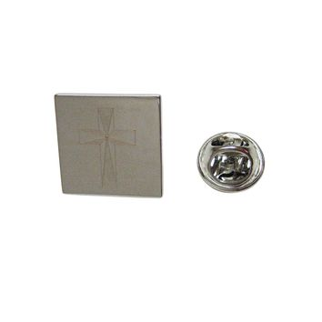 Silver Toned Etched Religious Cross Lapel Pin