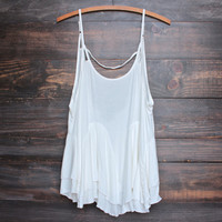uneven hem open back women's tank - white