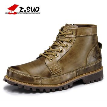 2016 Autumn Men's Genuine Leather Boots Working Boots Mountain Shoes Vintage Oxford  Ankle Boots High Quality Size:39-44