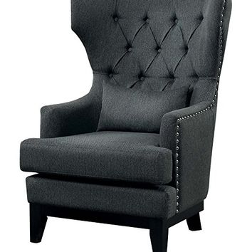 Adriano collection gray herringbone fabric upholstered wing back accent chair with nail head trim
