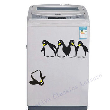 Free shipping funny penguin kitchen fridge sticker fridge decals dining room kitchen decorative wall stickers home decor