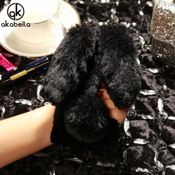 AKABEILA Case Soft TPU For iPhone 5S Cases Silicone For iPhone SE Cover Rabbit Fur Fluffy For iPhone 5 6C Back Cover