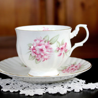 Tea Cup and Saucer,  English Bone China, Clifton Pink Rhododendron 12187