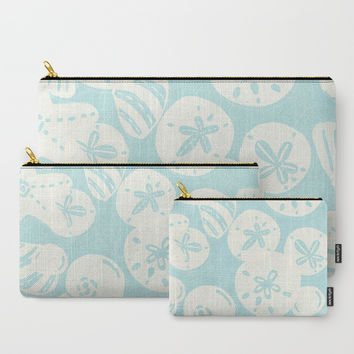 Cream Seashells on Aqua Carry-All Pouch by Noonday Design