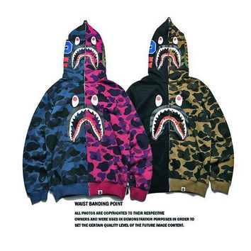 PEAPGZ9 Bape Shark Hoodies Zippers Hats Korean Couple Casual Jacket [103853686796]