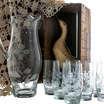 Glass Pitcher and Glasses Set, Etched Glass Pitcher, Retro Clear Glass Pitcher Set, Sangria Pitcher, Replacement Glass, 8 Piece Set, Bar