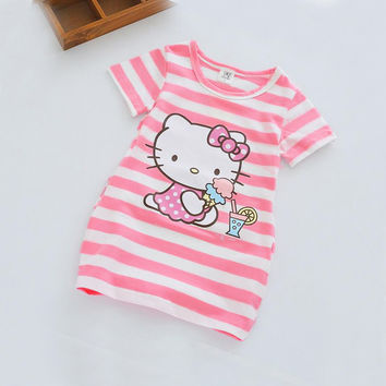 Elsa Girl Clothes Cartoon Cute Girls Dress Cotton Stripe Party Dresses Children Clothing