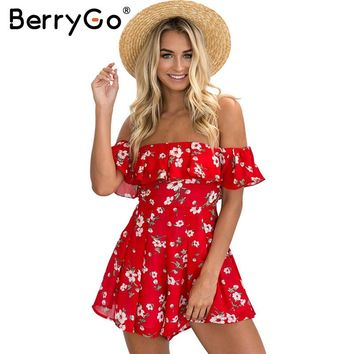 BerryGo Off shoulder ruffles print jumpsuit romper women High waist chiffon sexy leotard Summer beach overalls boho playsuit