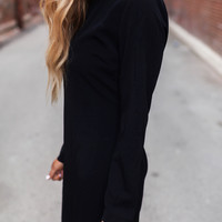 Black Long Sleeve Open Back Dress