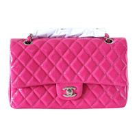 CHANEL bag medium classic flap vivid Fuschia patent leather NEW