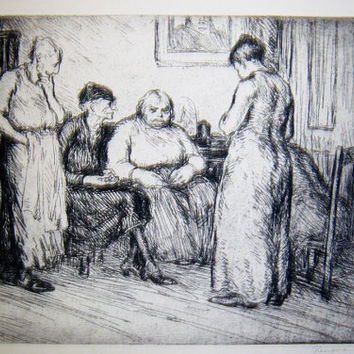 George Renouard Etching Signed and Titled Bad News