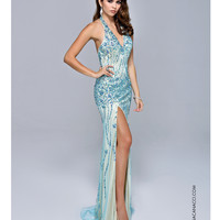 Nina Canacci 8050 Turquoise Jeweled Halter Dress 2015 Prom Dresses